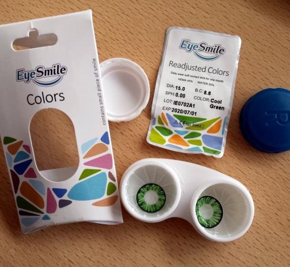"""Apžvalga: akių spalvą keičiantys  lęšiai """"EyeSmile"""". Cool green spalva."""