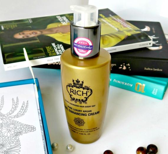 """Apžvalga: """"Rich"""" garbanotų plaukų kremas """"Pure Luxury Argan Curl Enhancing Cream"""""""