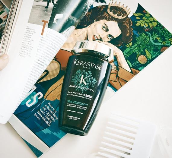 """Apžvalga: """"Kerastase Aura Botanica"""" tirštas maitinamasis šampūnas ypač sausiems, jautriems plaukams """"Bain Micellaire Riche"""""""