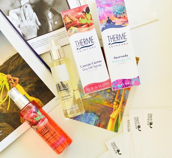 """""""Therme"""" produktai: purškiamas sausas aliejus kūnui iš """"Cancun Cactus"""" serijos ir masažo aliejus iš """"Ayurveda"""" serijos"""